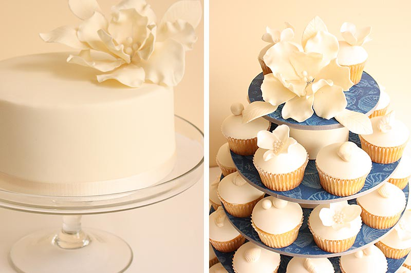 Beach wedding cupcakes and cutting cake detail | Fondant cov… | Flickr