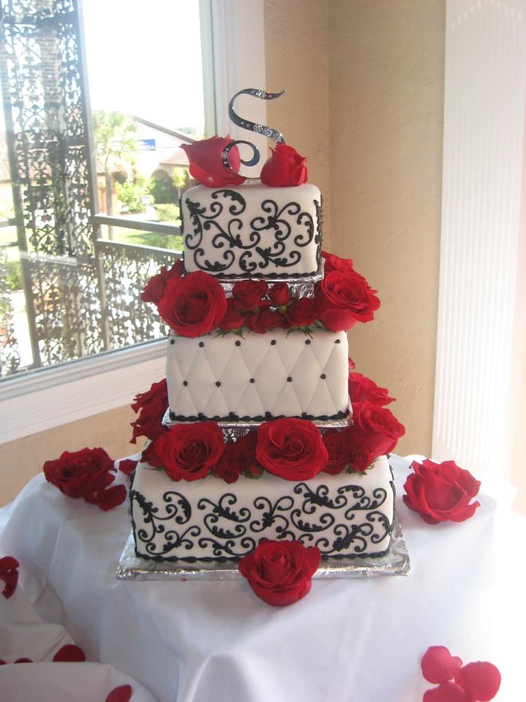 White, Black and Red Roses Wedding Cake | White, Black and R… | Flickr