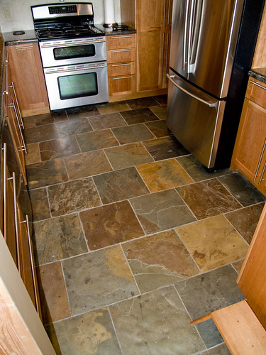 Slate Floor Natural Slate 16x16 Set In A Brick Pattern