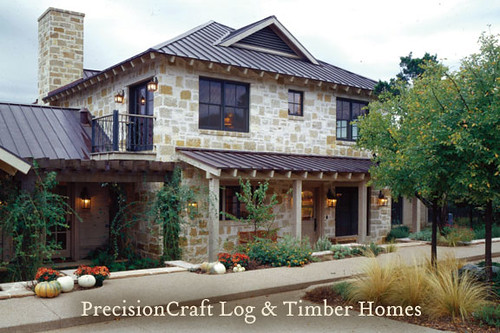 Custom design of a timber frame and log home hybrid prec for Custom a frame homes