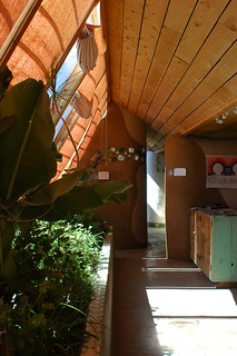 inside the Earthship info building | by Jana Carson