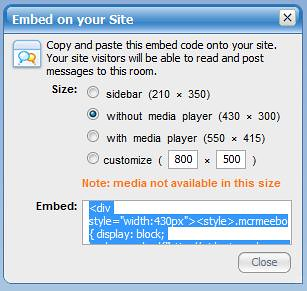 Embedding a meebo room in another web site once you have for Embed a forum into your website
