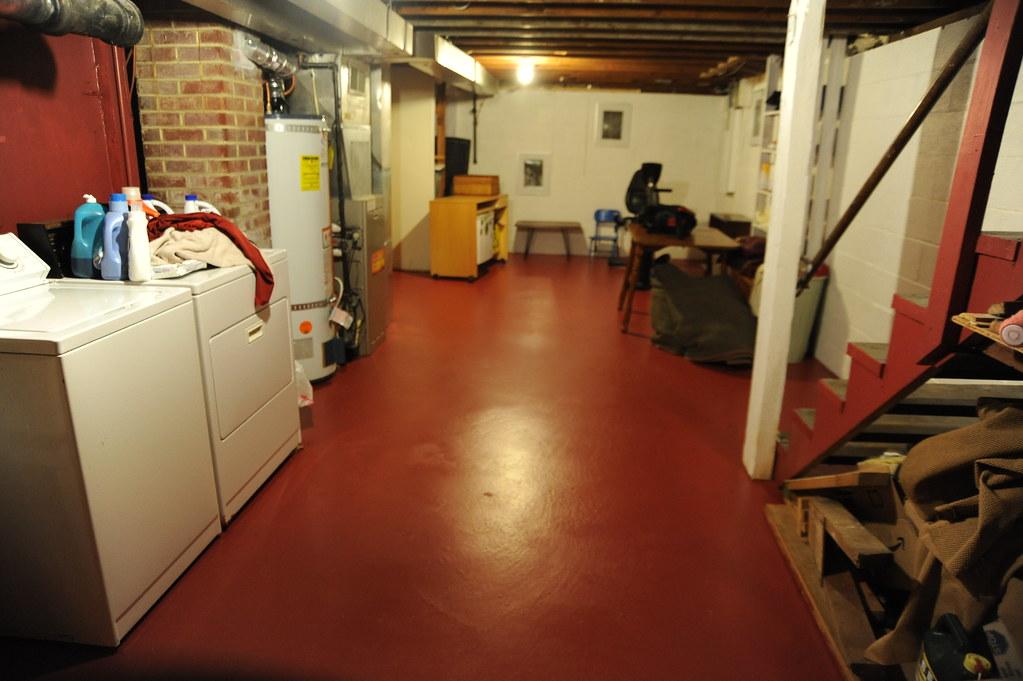 Freshly Painted Basement Floor Clean Clothes Rafters Br Flickr - Basement floor heating under carpet