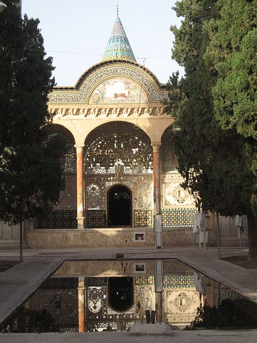 Mausoleum of Imamzadeh Ibrahim - tiles reflecting in the courtyard pool - near the Amir Kabir Hotel, Kashan