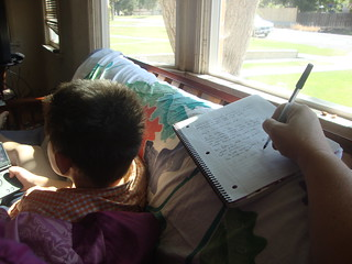 I write while SAm plays and leans against me | by juliejordanscott