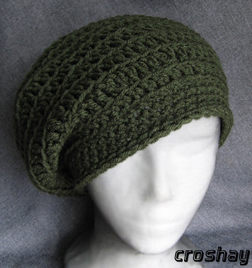 Crocheted Beret Slouchy Draped Beret Tam Hat By Croshay De