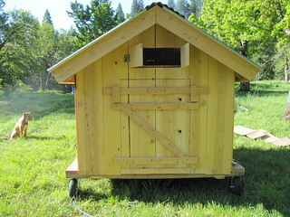 man door on the mobile chicken coop | by fishermansdaughter
