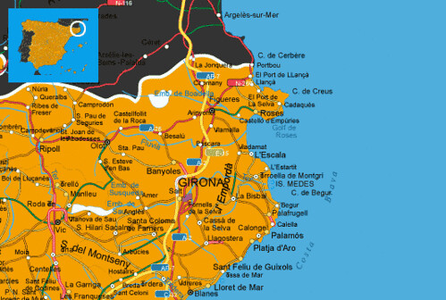 Map Of Spain Coast.Costa Brava Location On The Spain Map