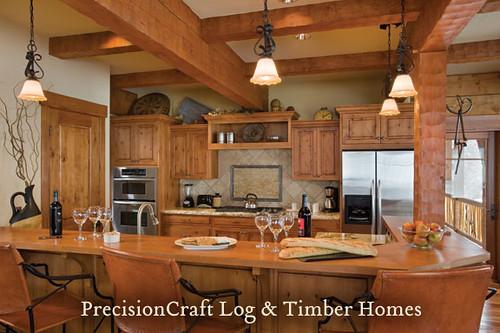 Log Home & Timber Frame Hybrid Kitchen | Tamarack, Idaho |… | Flickr