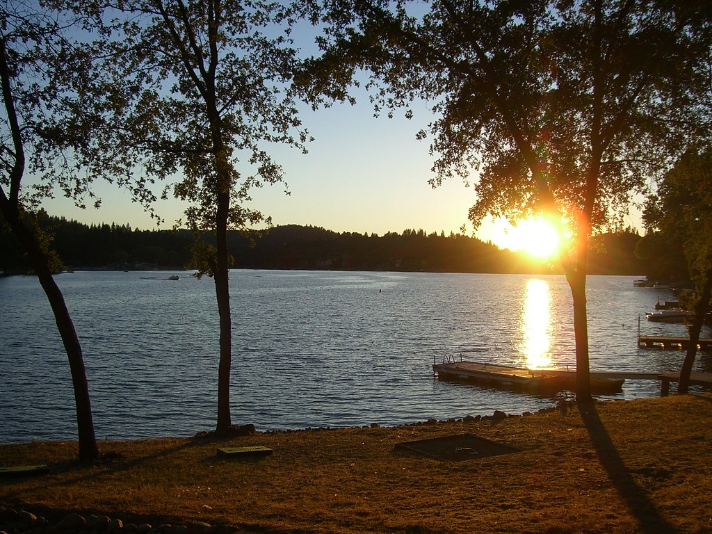 Image result for mountain lake sunset