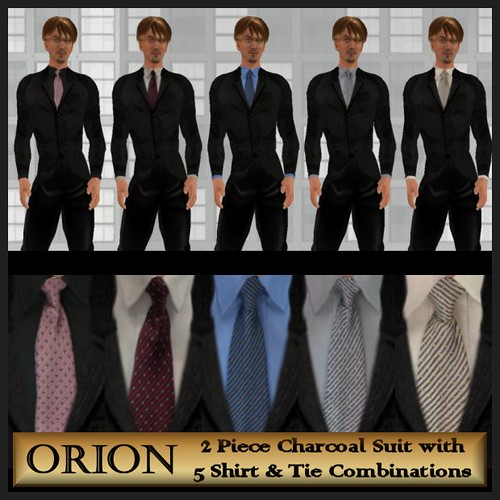 Orion charcoal suit 5 shirt and tie combinations flickr for Shirt and tie for charcoal suit