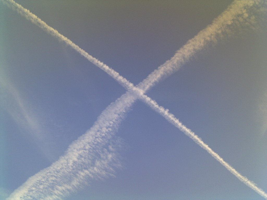 contrails and blue sky forming the st andrews cross scott u2026 flickr