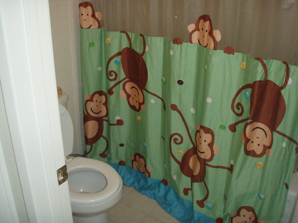 The Bathroom Plete With Awesome Monkey Shower Curtain Flickr