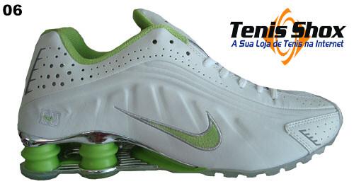 2a5350cb25 Nike-Shox-R4-Branco-e-Verde-Cromado-MOD-056-Promoção