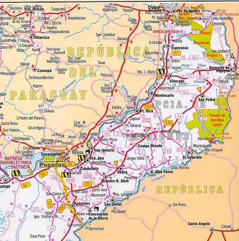 Mapa Rutero Província De Misiones Argentina Douglas Fernandes - Argentina misiones map