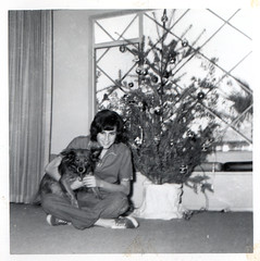 vintage: mom with christmas tree and dog | by David Flam