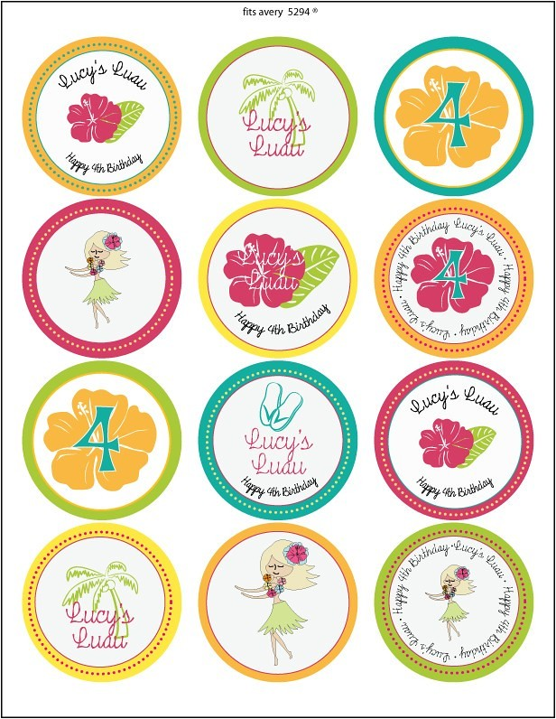 Luau Party Cupcake Flags / Stickers | The suite comes with a… | Flickr