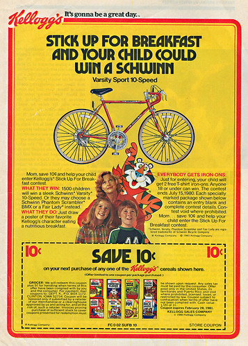 "Kellogg's :: ""STICK UP FOR BREAKFAST AND YOUR CHILD COULD WIN A SCHWINN"" ;  SAVE 10¢ (( 1980 )) 