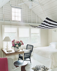 White bedroom + striped canopy | by SarahKaron