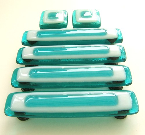 Glass knobs and pulls in custom turquoise and white glass for Turquoise cabinet pulls