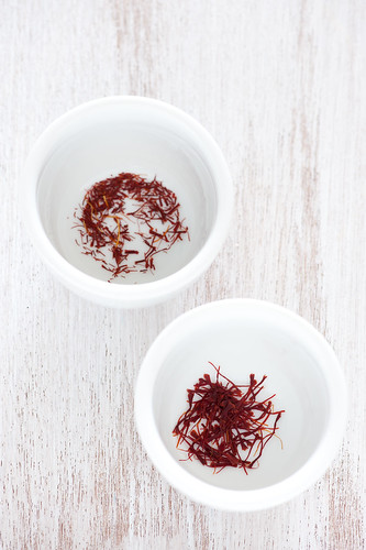 spanish saffron (left) kashmiri saffron (right) | by jules:stonesoup