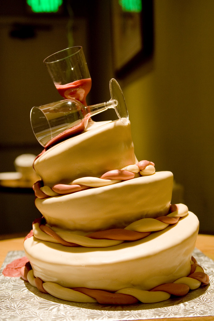 Topsy Turvy Spilled Wine Birthday Cake