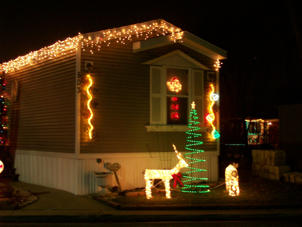 Mobile Home with Christmas Lights | anneinchicago | Flickr