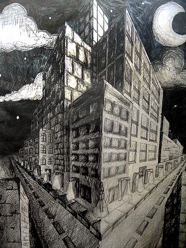 cityscape this was a drawing 1 assignment for 2 point pers flickr