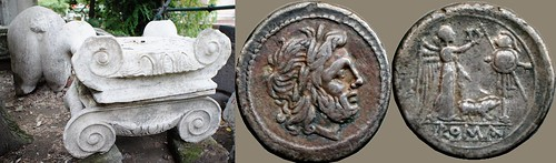 121/1 coin of 210BC with Jupiter, Victory, Trophy and Pig. beside Ionic capitals and a Pig's rear-end, discarded marble fragments at Puteoli amphitheatre | by Ahala