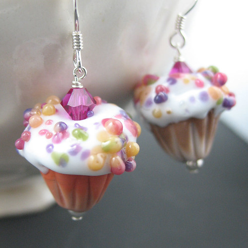 Glass Cupcake Earrings | by Everlasting Glass Art