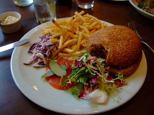 Veggie burger with chips | by JohnSeb