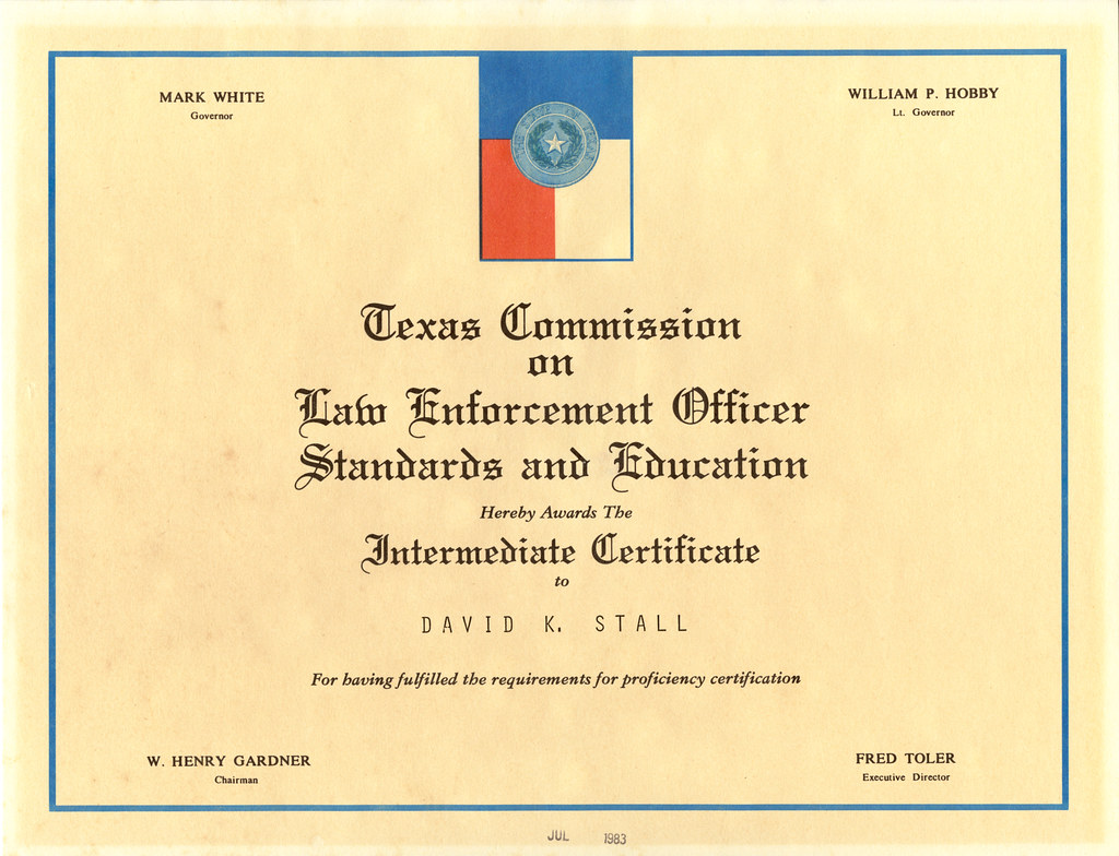 David k stall intermediate certificate texas commission flickr david k stall intermediate certificate texas commission on law enforcement officer standards and 1betcityfo Images