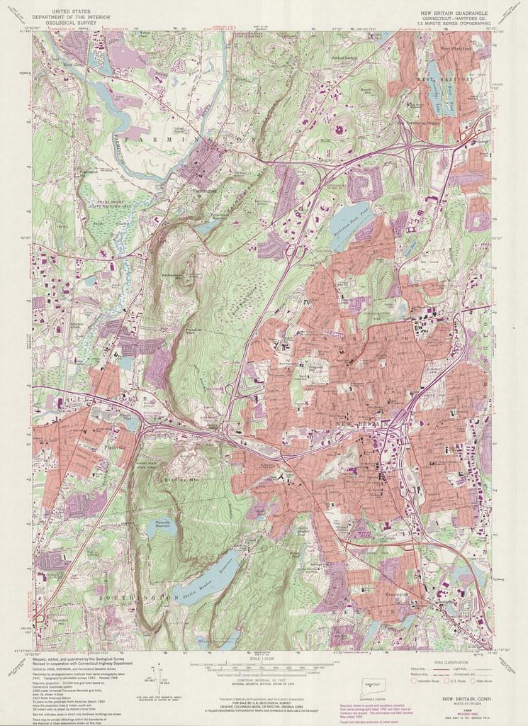 New Britain Quadrangle 1992 USGS Topographic Map 12400 Flickr