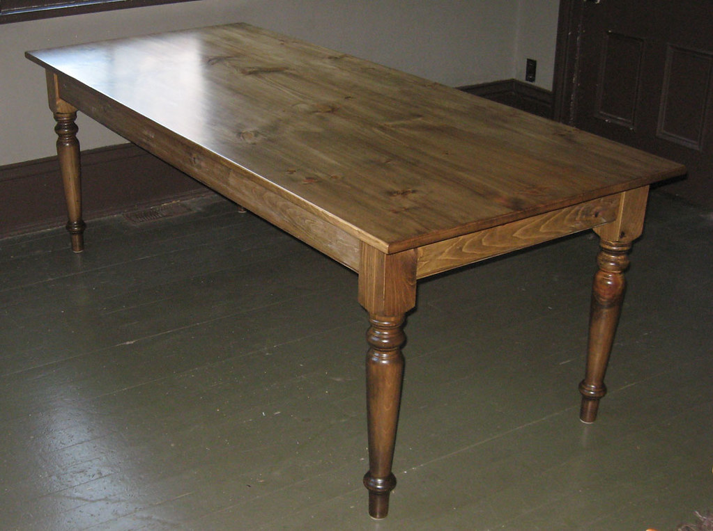 ... Pine Table, Special Walnut Stain   By Custom Tables