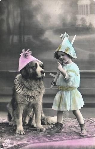 Vintage Postcard ~ Girl & Her Dog | Vintage Postcard ...