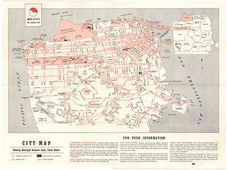 San Francisco Municipal Railway Tours of Discovery / City Map Showing Municipal Streetcar Lines, Coach Routes (1952) | by Eric Fischer