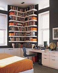 Ideas for small spaces: Custom bookshelves + dark walls: 'Iron Mountain' by Benjamin Moore | by SarahKaron