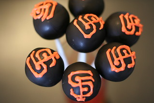 SF Giants Black cake pops | by Sweet Lauren Cakes
