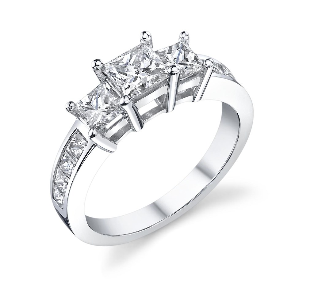 Princess Cut Engagement Ring 3stone With Side Princess Diamonds  By  Robbins Brothers