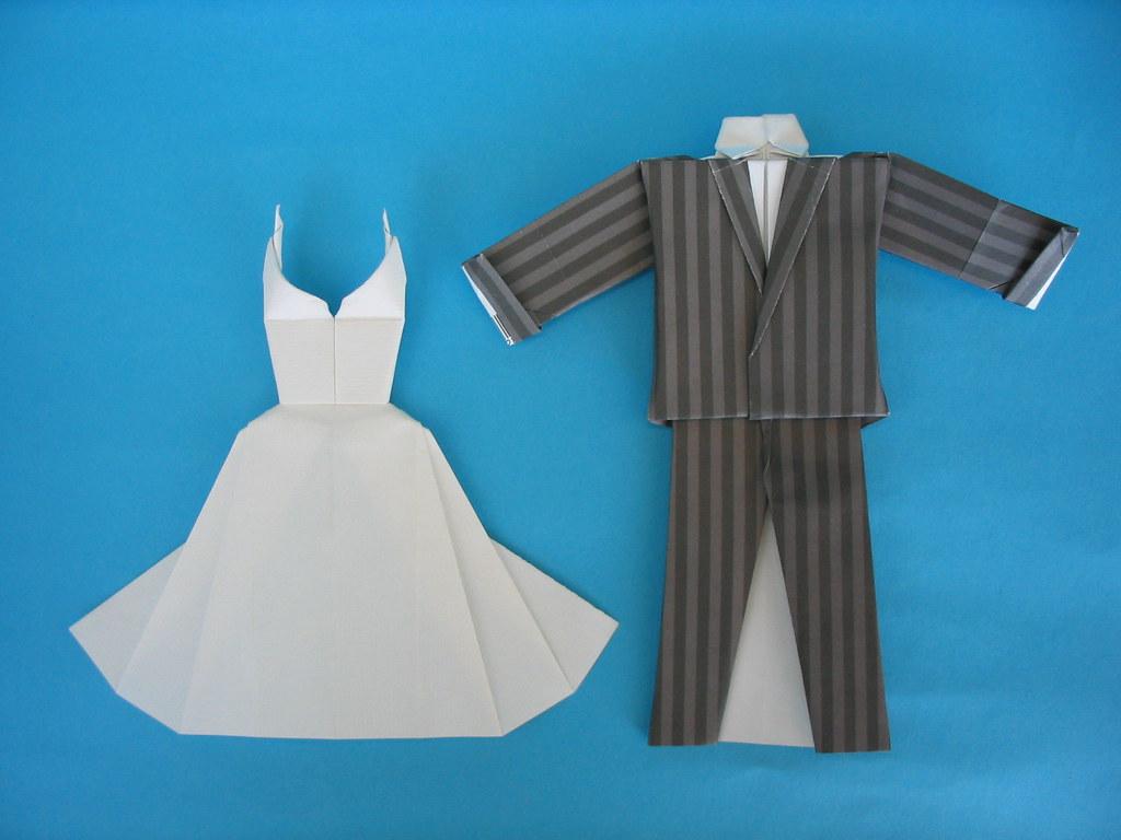 Wedding dress and suit designed on june 2003 paper one u flickr wedding dress and suit by quentin origami jeuxipadfo Choice Image