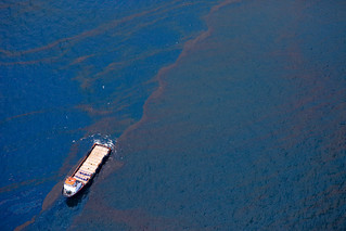 Thick waves of solid BP crude oil will be sunk to the ocean floor with a chemical absorbent. | by Kris Krug