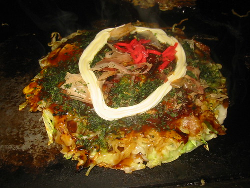 Okonomiyaki: mayo and ginger top it off -- ready to eat!