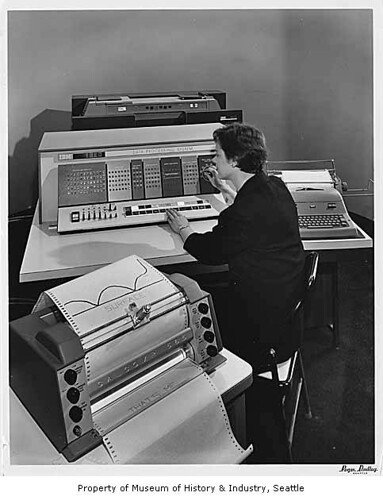 IBM 1620 data processing machine on display, Seattle World's Fair, 1962 | by IMLS DCC