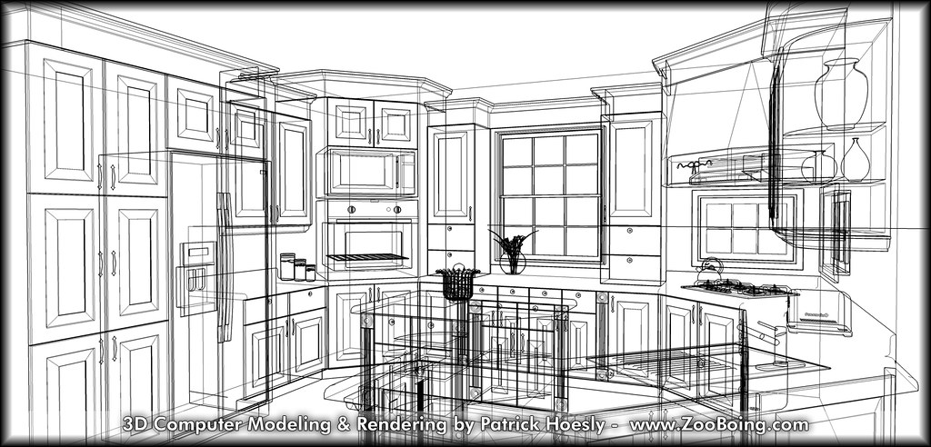 3D Computer Rendering - Kitchen Wireframe | (Click to previe… | Flickr