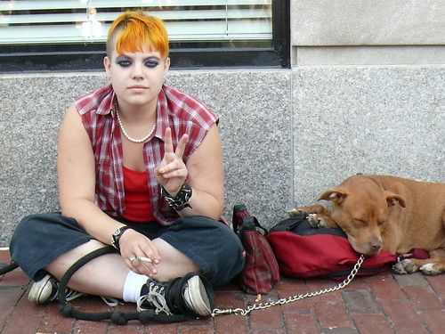 Peace - The girl with the orange hair and one of her dogs in Harvard Square | by eileansiar