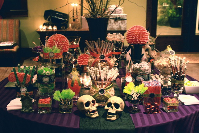 halloween night wedding sweets table by the couture cakery