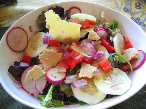 mixed green salad with cucumber radish red bell pepper | by tofu666