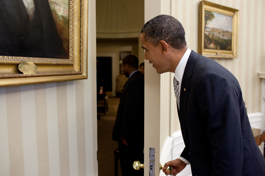 ... P101110PS-0430 | by Obama White House & P101110PS-0430 | President Barack Obama opens a door in the \u2026 | Flickr