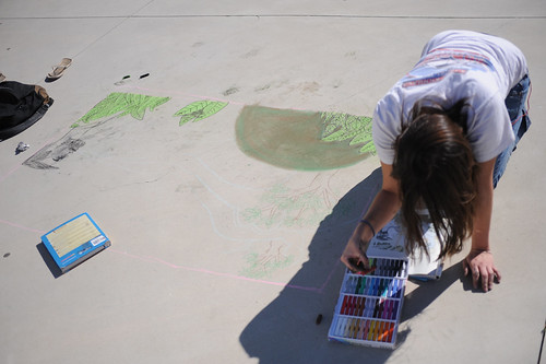 CI student working on a chalk drawing at Broome Library's 2008 Artwalk | by California State University Channel Islands