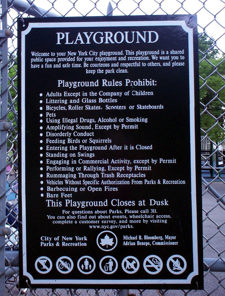 nyc playground rules 2007 in nyc adults can t enter playgr flickr
